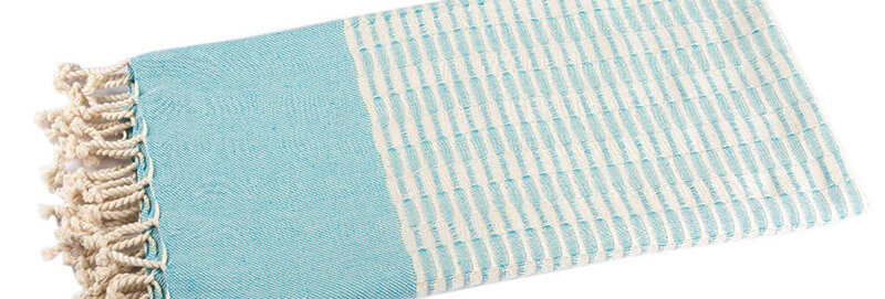 Twist Cotton Hammam Towel Aqua - Cotton & Olive