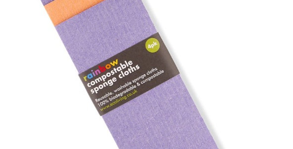 Compostable Sponge Cleaning Cloths - Rainbow Bright x4 - Eco Living