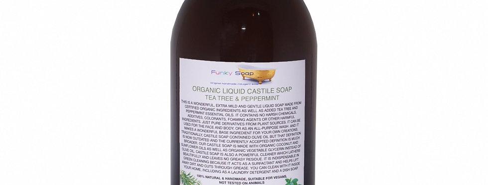 Organic Liquid Castile Soap Tea Tree & Peppermint 500ml - Funky Soap