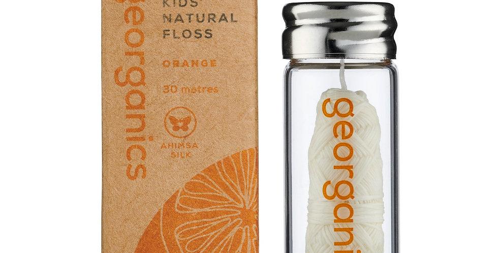 KIDS Silk Dental Floss with Dispenser Orange - Georganics