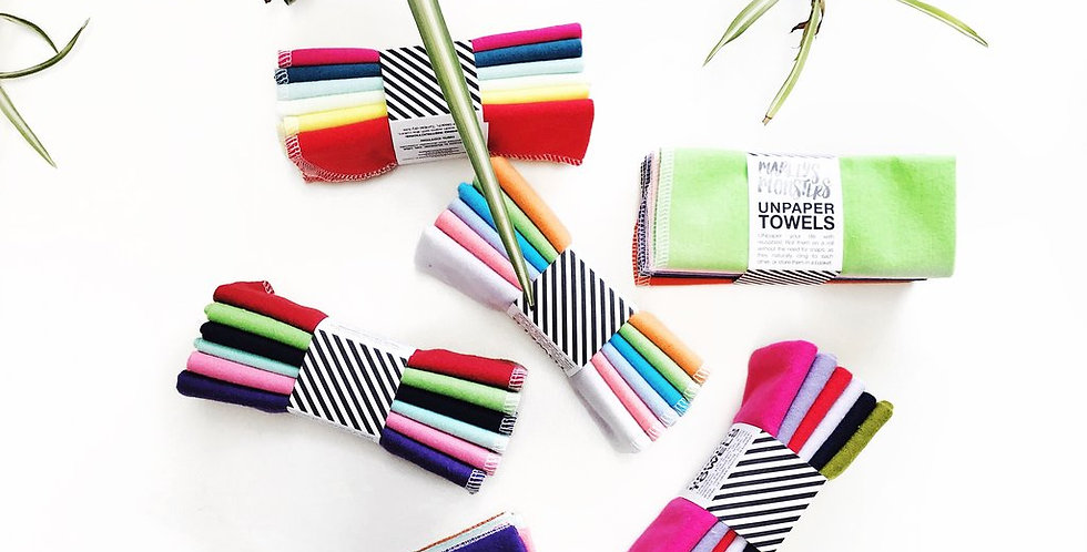 Unpaper Towels x6 Pack Rainbow Chevron - Marley's Monsters