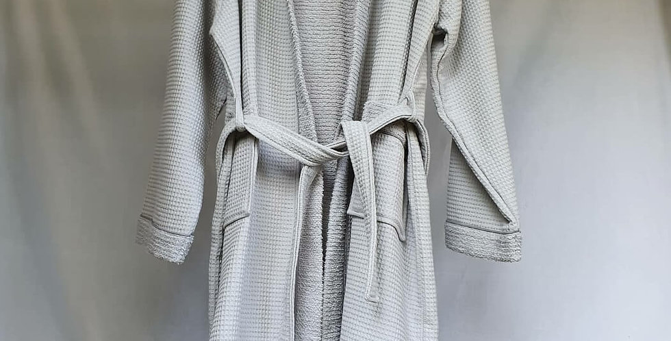 Zen Cotton Double-Faced Unisex Bathrobe Ash Grey - Cotton & Olive