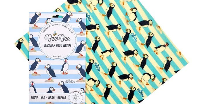 BeeBeeWraps x1 Single Wrap - Puffins