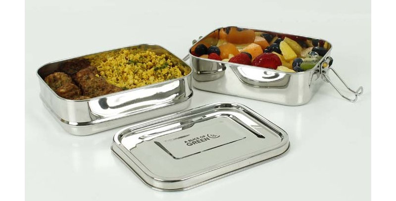 Buruni Leak Resistant Two Tier Rectangle Lunchbox - A Slice Of Green