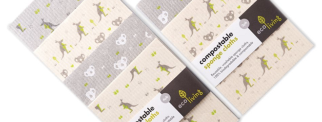 Compostable Sponge Cleaning Cloths - Wildlife Rescue x4 - Eco Living
