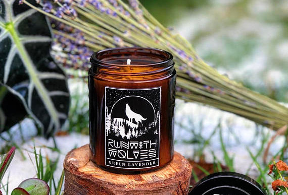 Green Lavender Soy Wax Candle 180ml - Run With Wolves