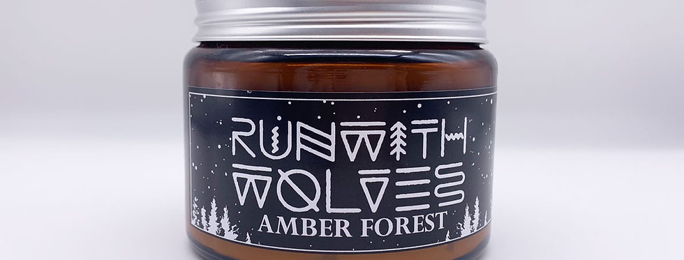 XL Amber Forest Soy Wax Candle 500ml - Run With Wolves