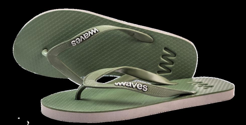 Plastic Free Flip Flops Men's Khaki - Waves UK