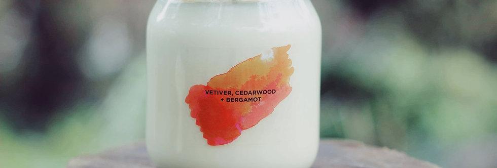 Vetiver, Cedarwood + Bergamot Aromatherapy Candle - Self Care Co