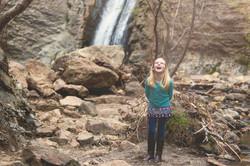 Child-at-waterfall
