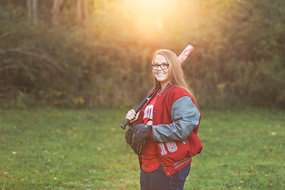 senior pictures with softball jersey