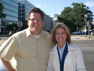 Joel Biggs with Fox Anchor Gretta Van Sustren