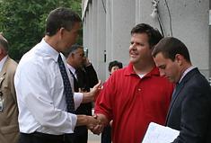 Secretary Arnie Duncan Greets Joel Biggs at Dept of Education
