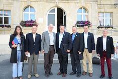 Historic Programs team, Joel Biggs, Chris Meeker, Earl Hurrey, Jeremy Biggs, Hugh Wittaker with Mayor of Sainte Mere Eglise