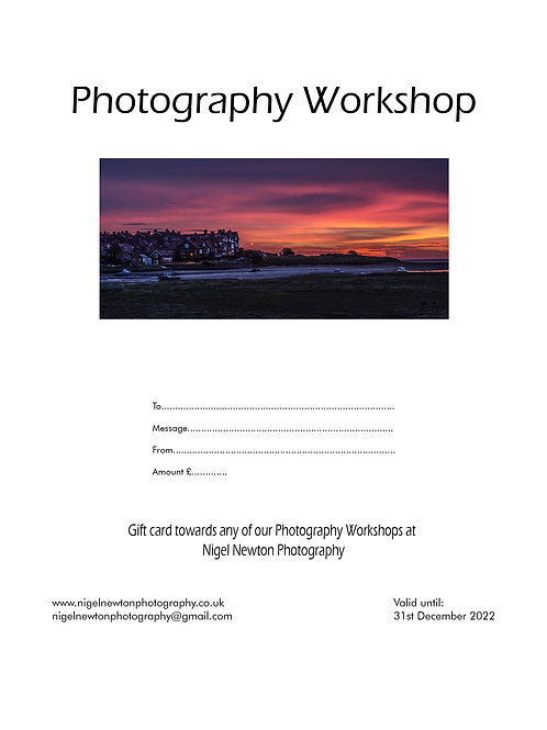 Photography Workshop E-Gift Card £5-£75