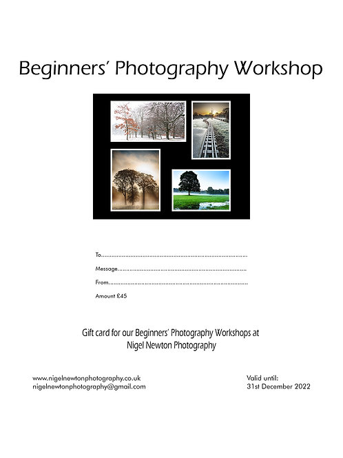 Beginners' Photography Workshop E-Gift Card £45