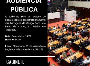 Convite para Audiência Pública: descomissionamento de barragens em Barão de Cocais e Macacos