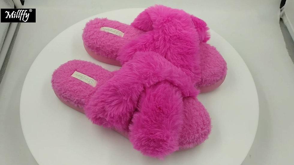 Women's Cross Band Soft Plush Fleece House Flip Flop Open Toe Comfy Slippers