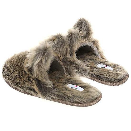 Dog Ears Bear Indoor Slippers Winter Warm Fluffy Slides for Womens Mens