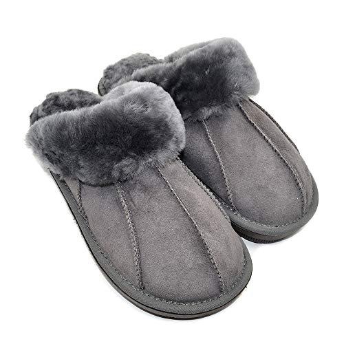 Millffy Warm Indoor Women's Cute Sheepskin Leather Slippers Men Shoes