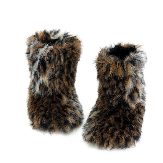 Warm Women's Faux Fur Bootie Slippers Fuzzy Comfy Plush Boots Indoor Shoes