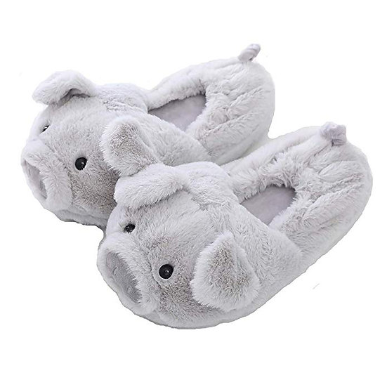 Millffy Funny Womens Warm Animal Slippers Furry Pink Pig Slipper MS1905