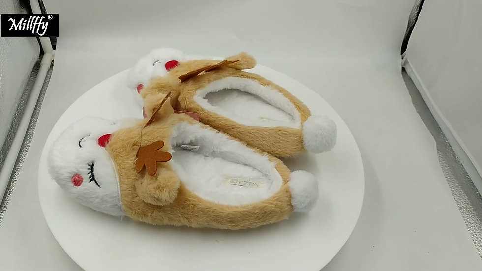 Millffy New Fluffy Moose Slippers Warm Shoes Reindeer Slippers