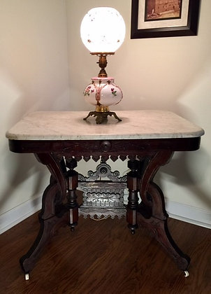Antique Victorian Parlor Marble Topped Table.