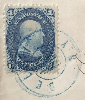 Scott #63b dark blue on folded letter.