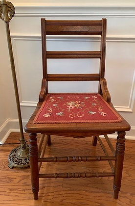 Antique Chair with Red Needlepoint and Fine Colored Floral Cushion.