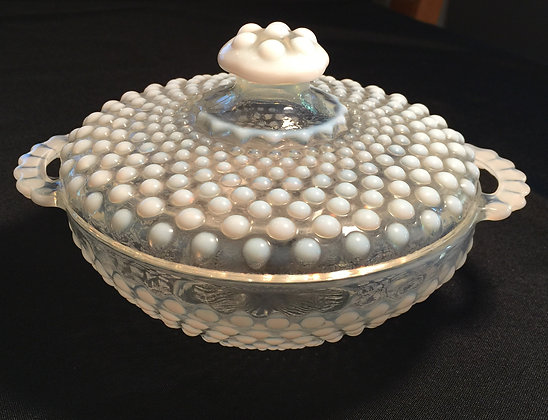 Fenton Hobnail Opalescent Glass Covered Candy Dish Bowl