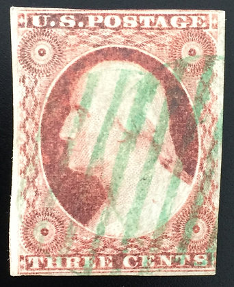 Scott #11 Used- Fine, with beautiful bright Green cancel!