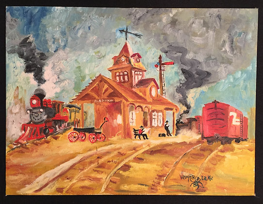 Canvas Art Painting of Old Time Train and Station.