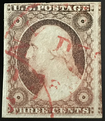 Scott #11 Used- VF+. With vivid Red cancel.