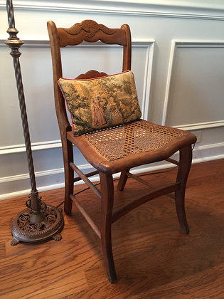 Child's Wicker Seat Chair with Patriotic Motif.