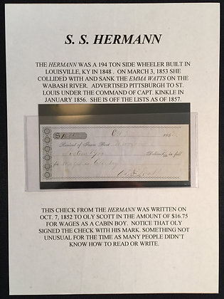 Early check from the Steam Boat Hermann.