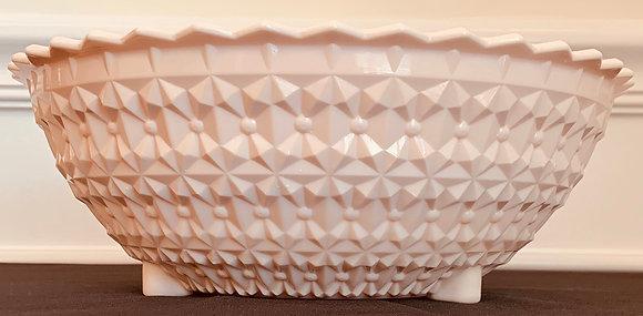 Vintage 1950's Pink Milk Glass Large Footed Serving Bowl