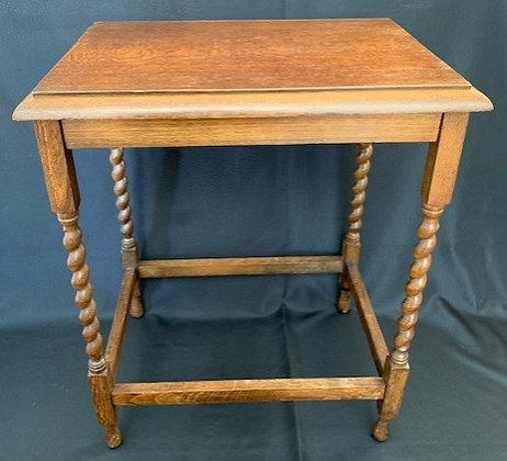 Antique Oak Barley Twist Side Table.
