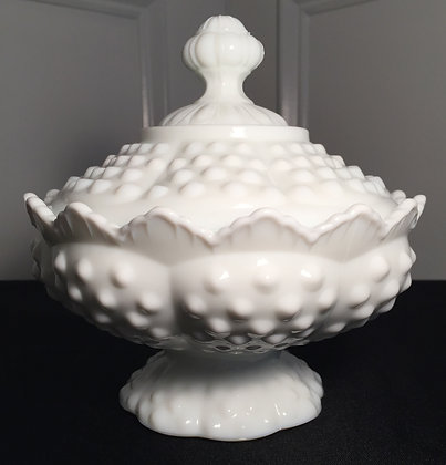 Fenton White Milk Glass Hobnail Compote Pedestal   Candy Dish w/ Lid.