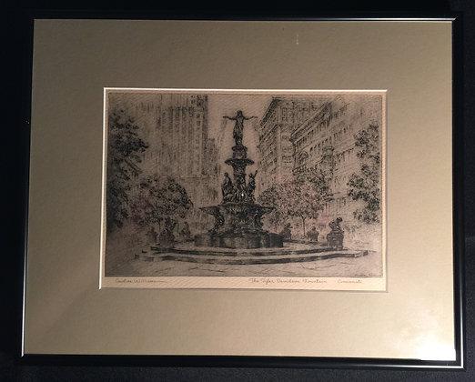 Print (1950) featuring The Tyler Davidson Fountain on Cincinnati, Ohio.