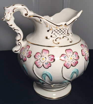 Lovely Antique Hand Painted Porcelain Pitcher.