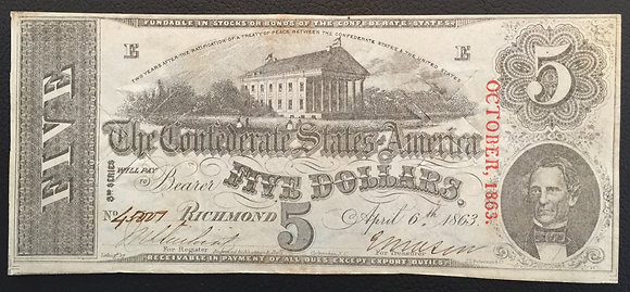 1863 Confederate Currency.