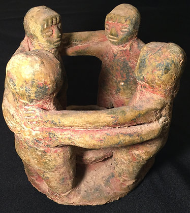 Folk-Art Circle of Friends Earthen Clay candle holder.
