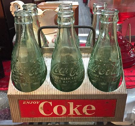1950s Coca Cola Aluminum 6 Pack Bottle Carrier.