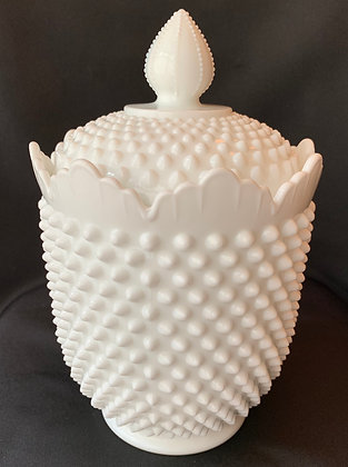 Vintage FENTON Hobnail Milk Glass Covered Cookie Jar.