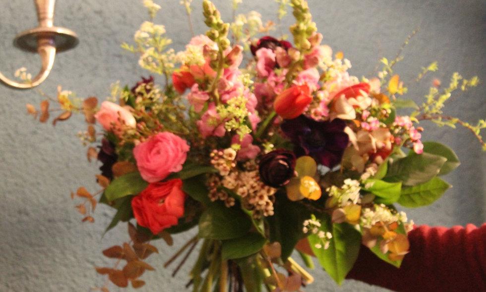 Bouquet rond pastel - M