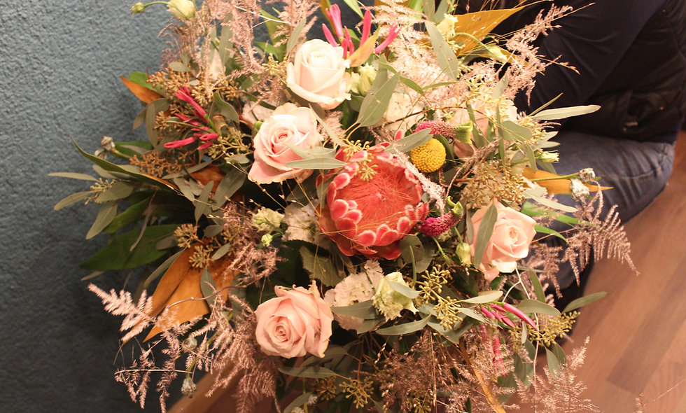 Bouquet rond pastel - L