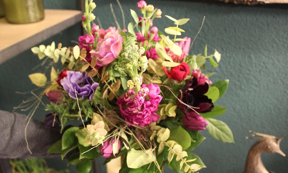 Bouquet rond pastel - S