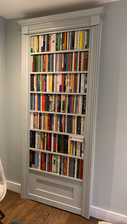 Painted bookcase door with faux paperback spines