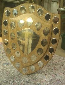 Solid oak trophy